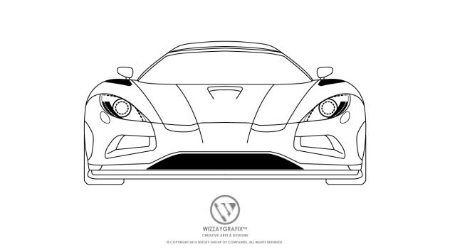 Koenigsegg Splash Agera Blue Print -Front View