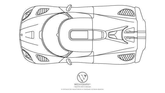 Koenigsegg Splash Agera Blue Print -Top View