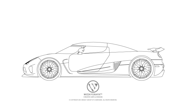 Koenigsegg Splash Agera Blue Print -Side View