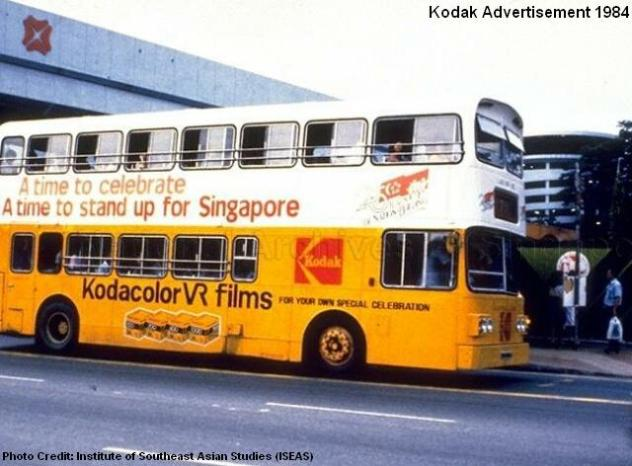 kodak advert on public bus 1984